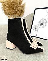 Жіночі замшеві демісезонні черевики на підборах 36-40 р чорний, фото 1