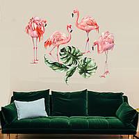 Наклейка виниловая Фламинго 1000х1000 мм и 1000х1300 мм, Подарок на 8 марта любимой девушке, жене, маме,