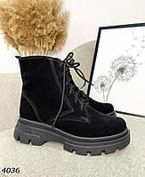 Женские замшевые демисезонные ботинки на шнуровке 36-41 р чёрный, фото 1