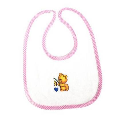 Слюнявчик тканевый (бело-розовый) 1040