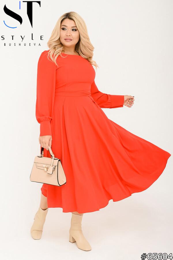 Червоне елегантне плаття а-силует з широким поясом на ґудзиках | р-р 48-50, 52-54, 56-58
