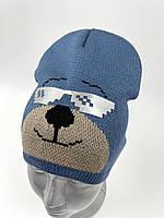 """ОПТ, Вязаная шапочка колпак для мальчика """"Медведь"""", фото 1"""