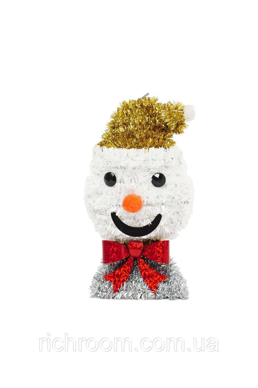 Новорічна фігурка підвіска Сніговик Christmas gifts, 16 см, з дощику, ялинкова іграшка