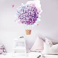 Наклейка виниловая Цветочный воздушный шар 01 550х680мм, Подарок на 14 февраля День Св Валентина девушке