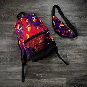 Комплект рюкзак фіолет Likee + бананка фіолетова Likee