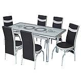 6-038 Стіл розкладний зі скла і 6 стільців, фото 3