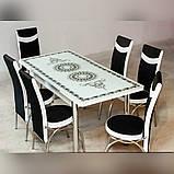 6-038 Стіл розкладний зі скла і 6 стільців, фото 5