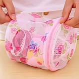 Мешок контейнер для стирки белья | Сумка для стирки бюстгальтеров (тканевая в сеточку с пластиковой основой), фото 3