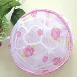 Мешок контейнер для стирки белья | Сумка для стирки бюстгальтеров (тканевая в сеточку с пластиковой основой), фото 8