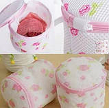Мешок контейнер для стирки белья | Сумка для стирки бюстгальтеров (тканевая в сеточку с пластиковой основой), фото 9
