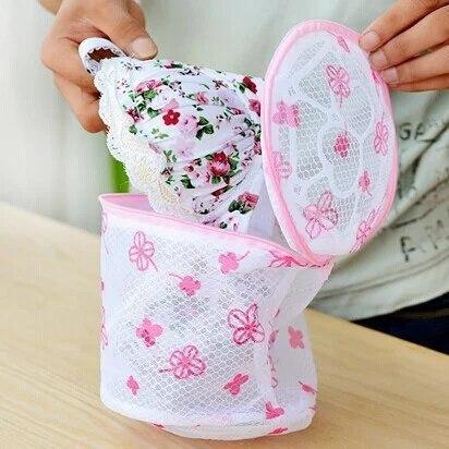 Мешок контейнер для стирки белья | Сумка для стирки бюстгальтеров (тканевая в сеточку с пластиковой основой)