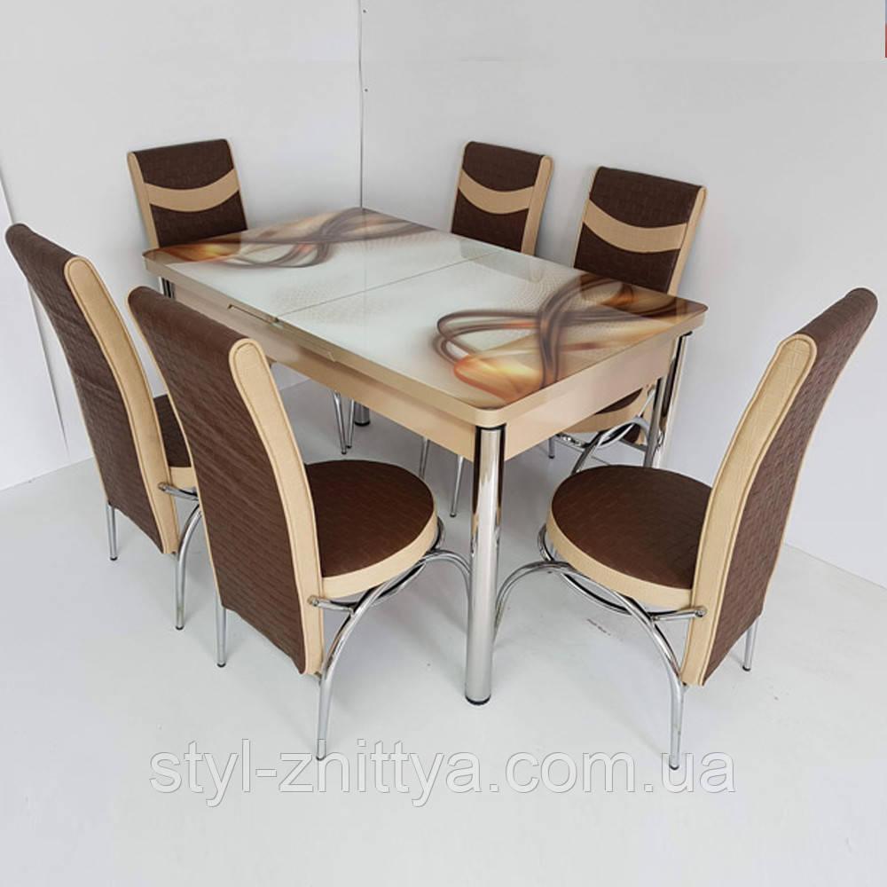 6-010 Стіл розкладний зі скла і 6 стільців