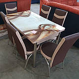 6-010 Стіл розкладний зі скла і 6 стільців, фото 2