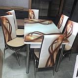 6-010 Стіл розкладний зі скла і 6 стільців, фото 5