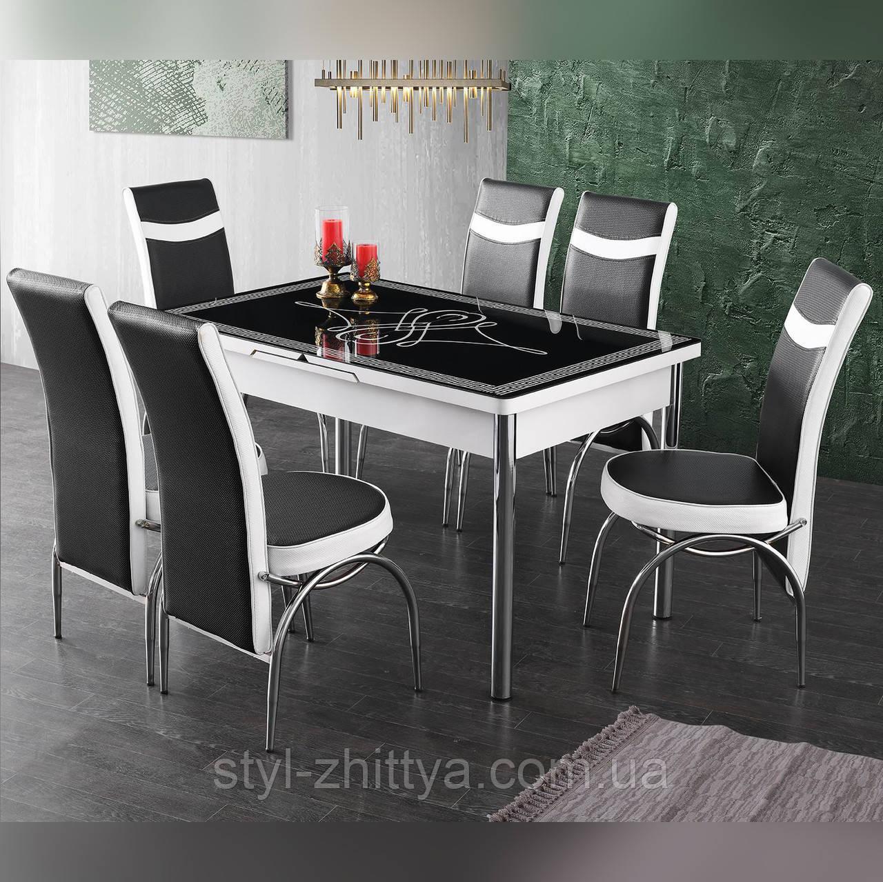 6-064 Стіл розкладний зі скла і 6 стільців