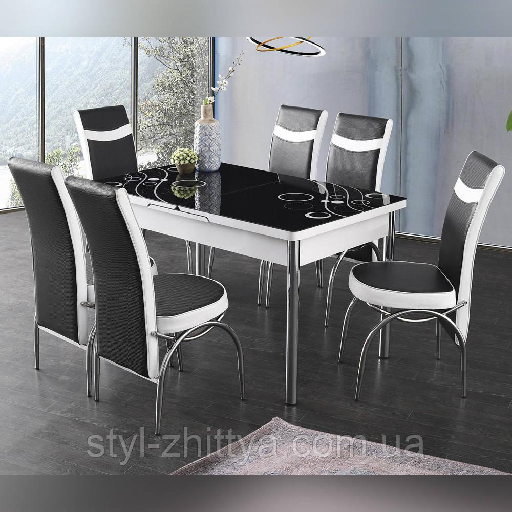 6-041 Стіл розкладний зі скла і 6 стільців