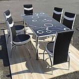 6-041 Стіл розкладний зі скла і 6 стільців, фото 2