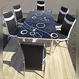 6-041 Стіл розкладний зі скла і 6 стільців, фото 3