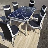 6-041 Стіл розкладний зі скла і 6 стільців, фото 4