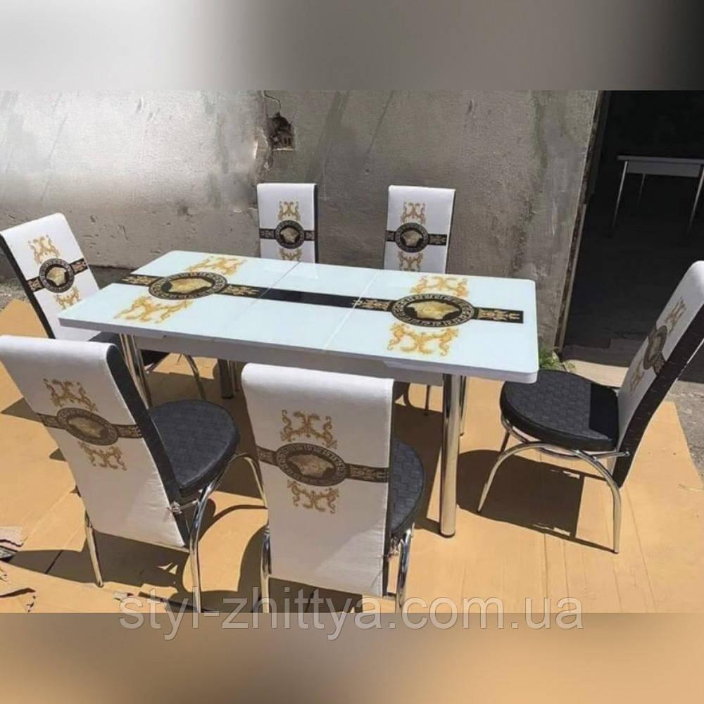 6-004 Стіл розкладний зі скла і 6 стільців