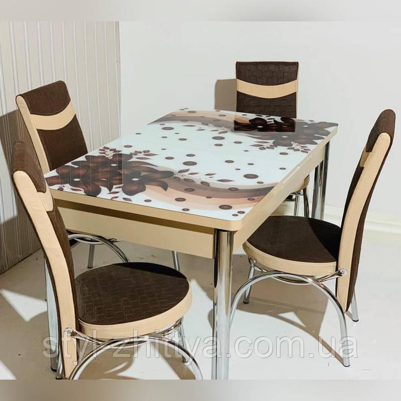 6-024 Стіл розкладний зі скла і 6 стільців