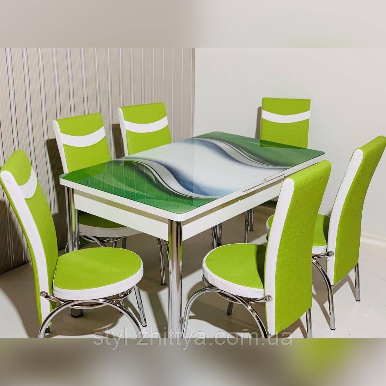 6-070 Стіл розкладний зі скла і 6 стільців