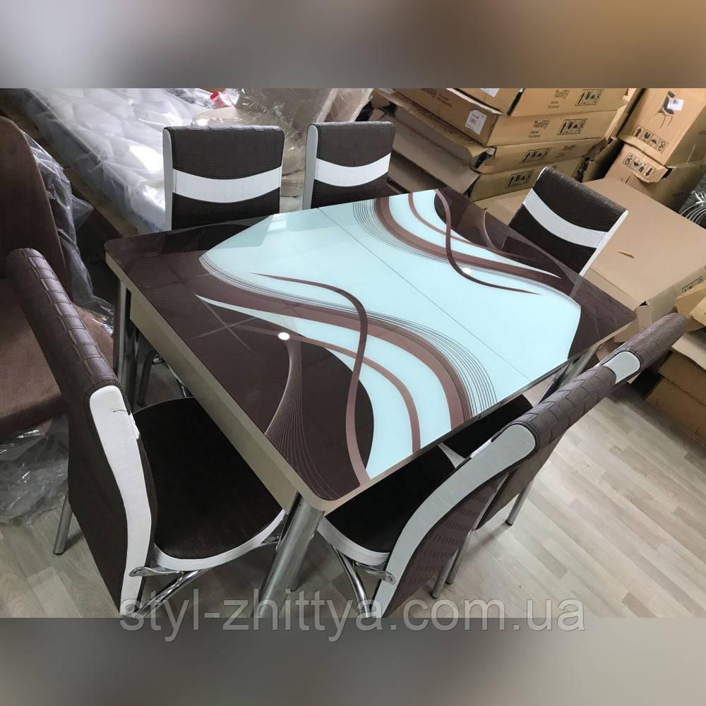 6-030 Стіл розкладний зі скла і 6 стільців