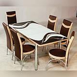 6-030 Стіл розкладний зі скла і 6 стільців, фото 2
