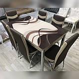 6-030 Стіл розкладний зі скла і 6 стільців, фото 3