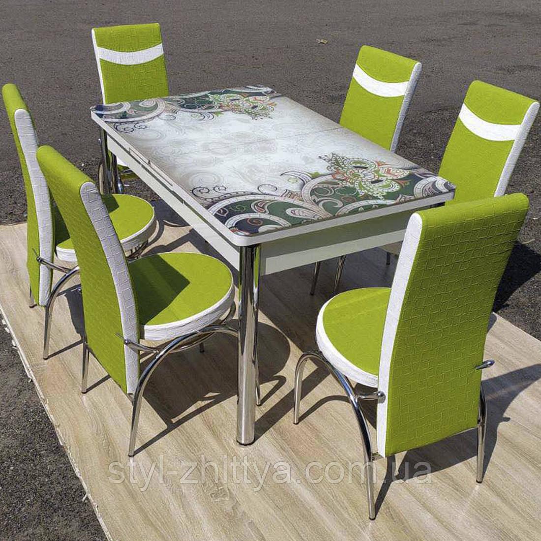 6-035 Стіл розкладний зі скла і 6 стільців