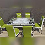 6-035 Стіл розкладний зі скла і 6 стільців, фото 2
