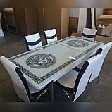 6-034 Стіл розкладний зі скла і 6 стільців, фото 2