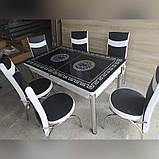 6-032 Стіл розкладний зі скла і 6 стільців, фото 2