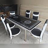 6-032 Стіл розкладний зі скла і 6 стільців, фото 3