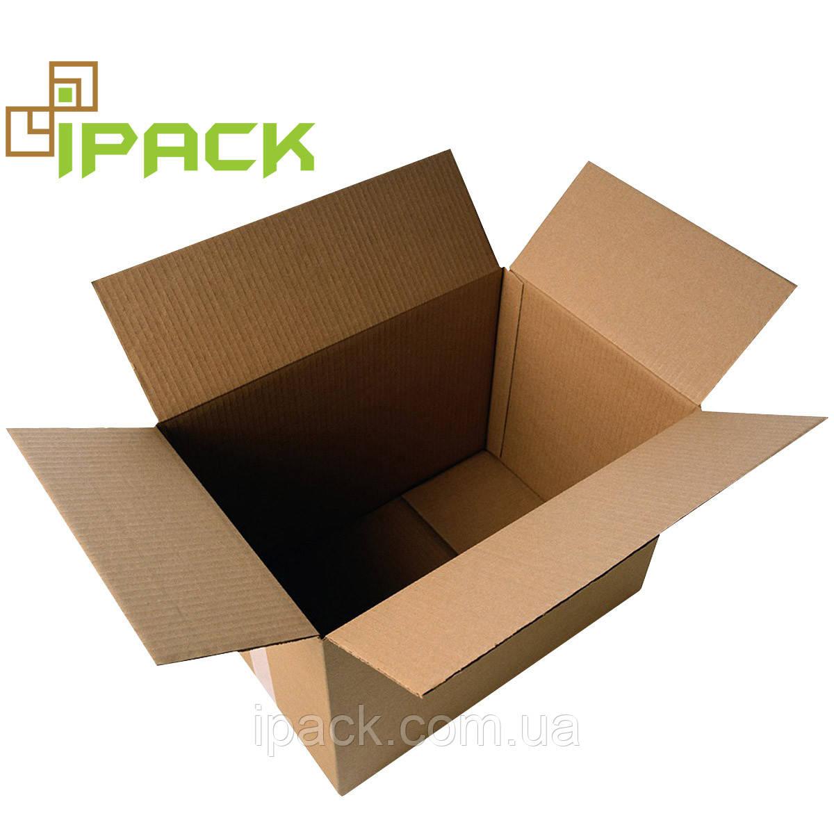 Гофроящик 390*390*340 мм бурий четырехклапанный картонний короб