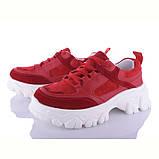 Женские кроссовки красные на платформе, мягкие, велюровые, фото 2