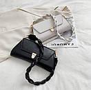 Модная женская сумочка багет с плетеной ручкой на плечо Bizz, фото 2