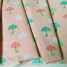 Ткань хлопок для рукоделия зонтики на персиковом