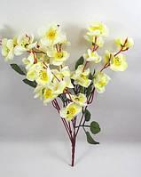 """Светло лимонная с белым """"горная сакура 39см"""" искусственный куст с цветами, фото 1"""