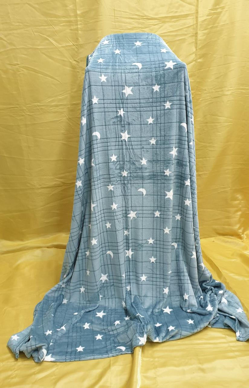 Плед-покривало фліс 220*240 Зірки Сіро-блакитний