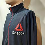 Чоловіча спортивна кофта Reebok на блискавці трикотажна Туреччина Темно-синя, фото 4