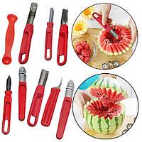 Набір ножів для карвінгу (різьблення по овочах) 8 штук (пластмасова ручка, сталеве лезо)
