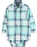 Стильная клетчатая боди-рубашка ОшКош для мальчика