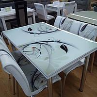"""Комплект кухонной мебели """"Веточка"""" (стол ДСП, калённое стекло + 4 стула) Mobilgen, Турция"""