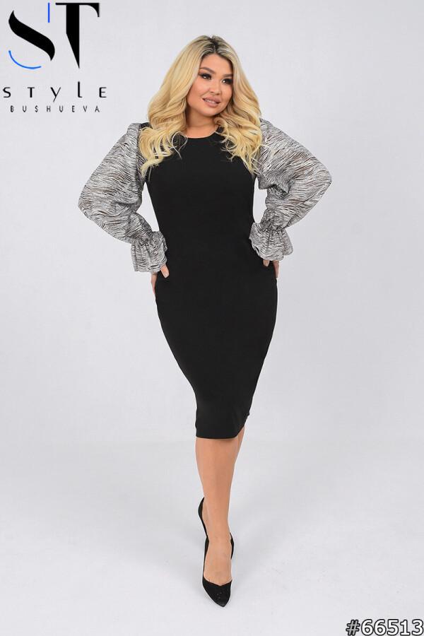 Вечернее платье | Креп-дайвинг+сетка | черный |р-р 50,52,54