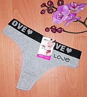 Трусики тонг женские LOVE хлопок. 42-50 размер. Женское нижнее бельё. Стринги, фото 1