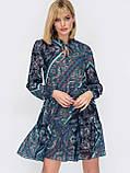 Шифонова сукня-міні з довгим рукавом, фото 5