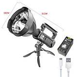 Ліхтар на штативі,прожектор ручної ударостійкий акумуляторний,фонать з підставкою,туристичний потужний ліхтар, фото 2