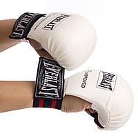 Перчатки для каратэ на резинке EVERLAST белые BO-3956M