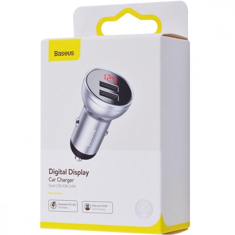 АЗП Baseus Digital Display Dual USB 4.8 A Car Charger 24W Silver